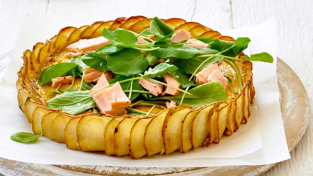 Crispy potato, salmon and herb quiche for Australia's Biggest Morning Tea