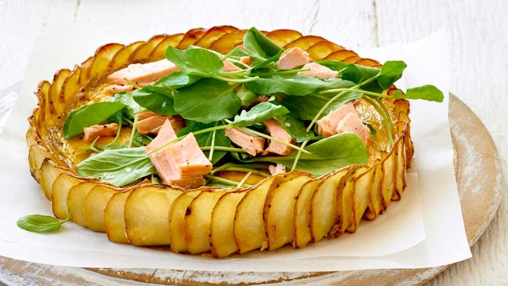 Crispy potato, salmon and herb quiche for Australia's Biggest Morning Tea