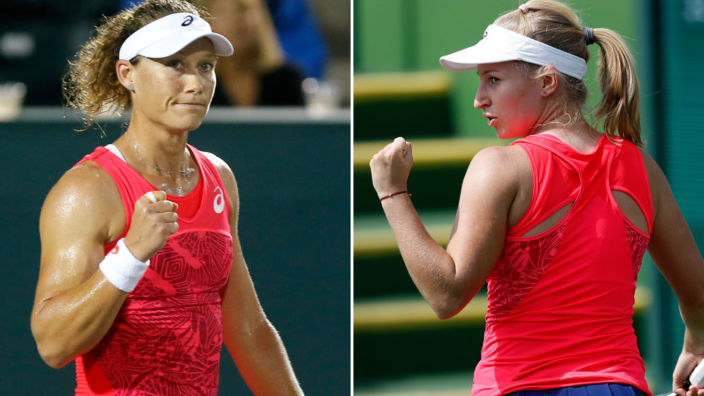 Samantha Stosur and Daria Gavrilova will meet in the WTA final in Strasbourg. (AAP)