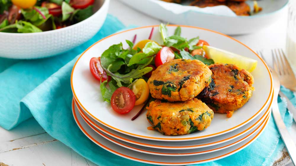 Sweet potato and lenti patties_recipe by Australian Sweet Potatoes