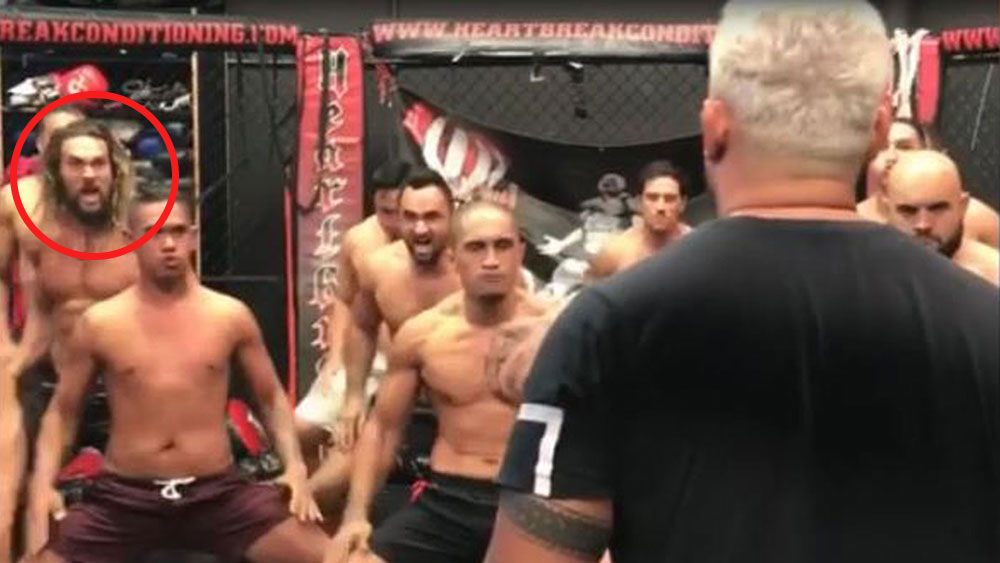 Mark Hunt's team including Jason Momoa aka Aquaman perform a Haka to honour his upcoming UFC fight