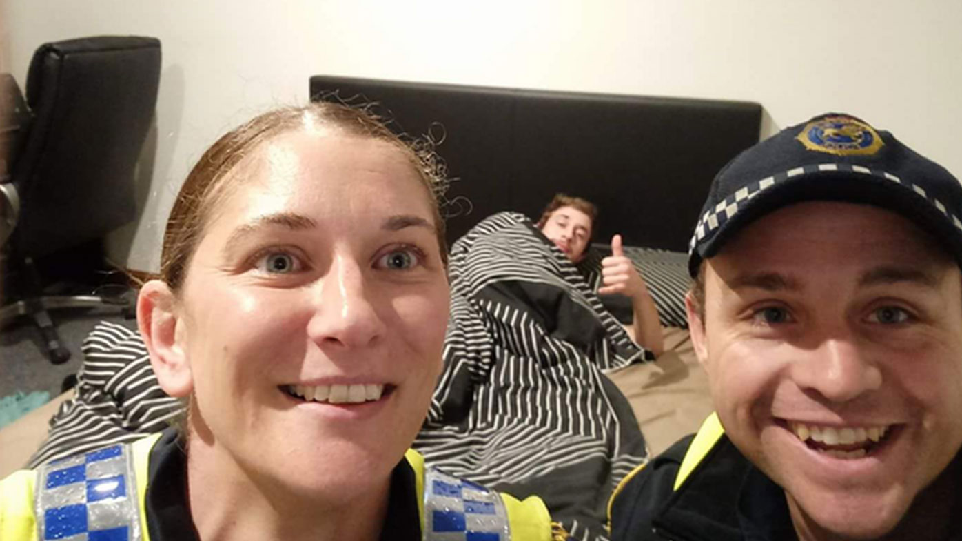 Police officers tuck drunk Tasmanian man into bed then take a selfie with him