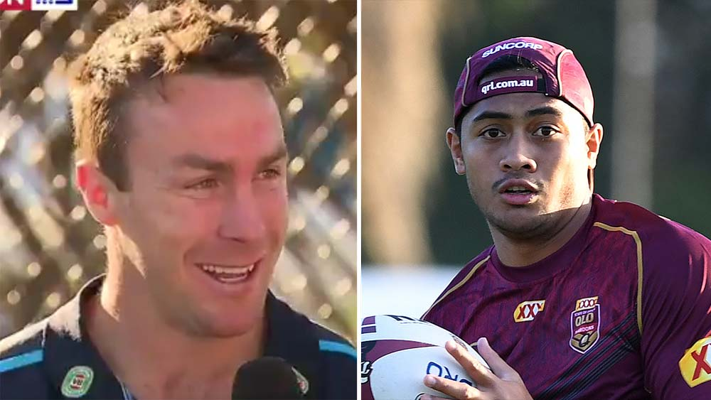 Blues James Maloney and Queensland's Anthony Milford
