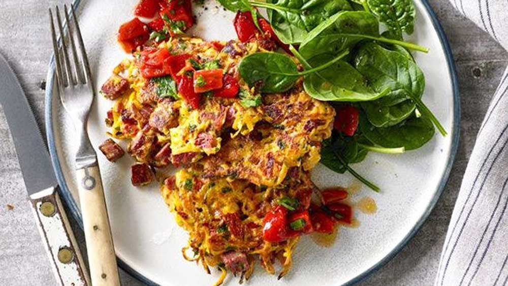 Shredded beef, sweet potato and herb fritters with capsicum relish recipe