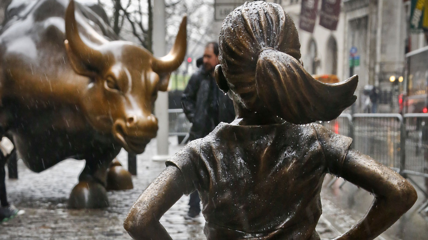 The Fearless Girl appeared in front of the Charging Bull on International Women's Day in March.