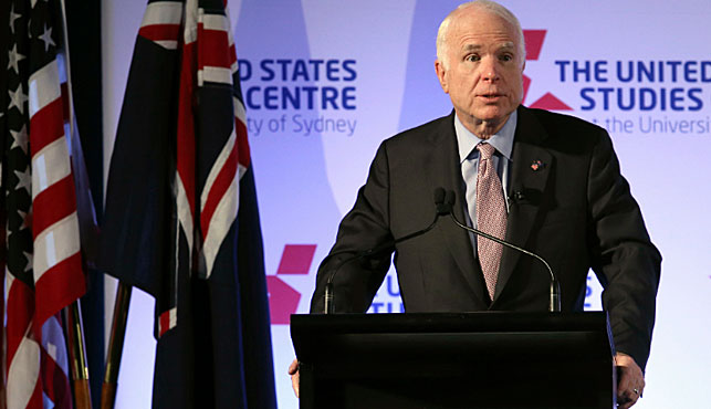 McCain urges Australia and US to stand up to 'bullying' China