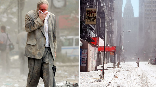 Lower Manhatten was covered in asbestos-filled dust after 9/11 which blew across the entire city and over to Brooklyn. (Getty)