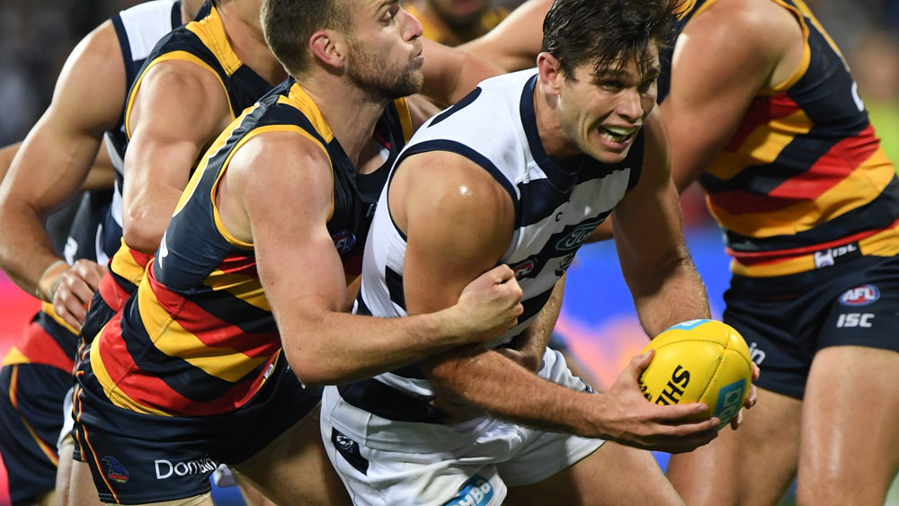 Geelong forward Tom Hawkins marked his 200th match with a win over Adelaide. (AAP)