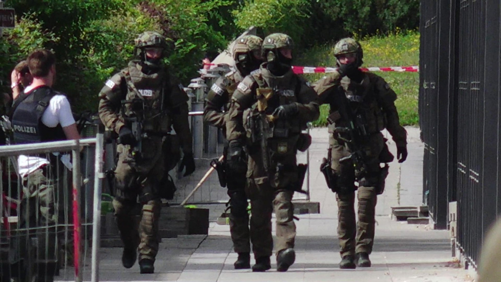 Armed police at the scene of the shooting. (AAP)