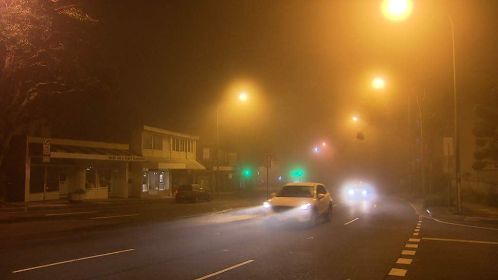 The fog also reduced visibility on roads across Sydney. (9NEWS)