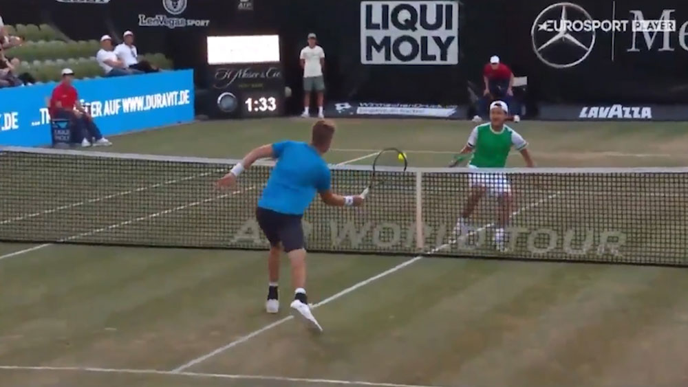 Lucas Pouille and Jan-Lennard Struff engage in ping pong rally at Stuttgart Open