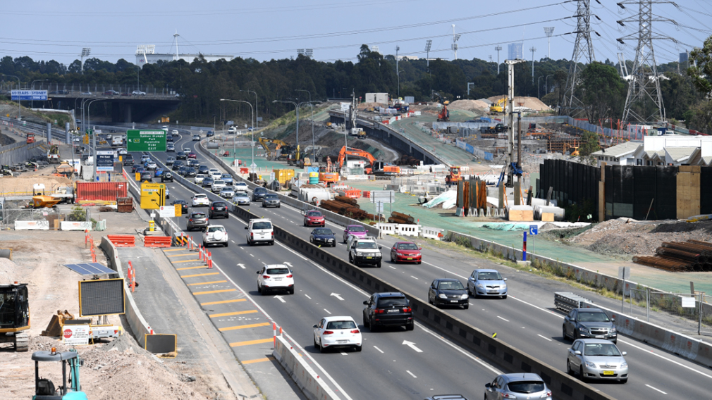 Construction of the M4 extension in Sydney in January. (AAP)
