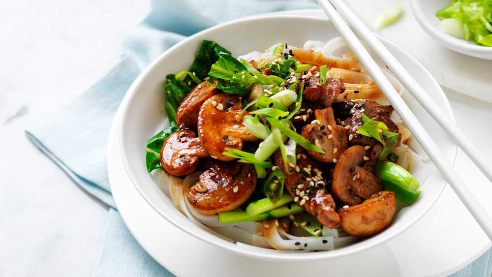 Char siu pork and mushroom stir-fry