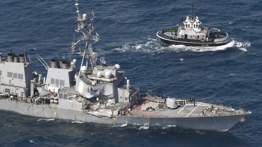 The American Navy destroyers collided with the merchant ship about 3.30am AEDT. (AAP)