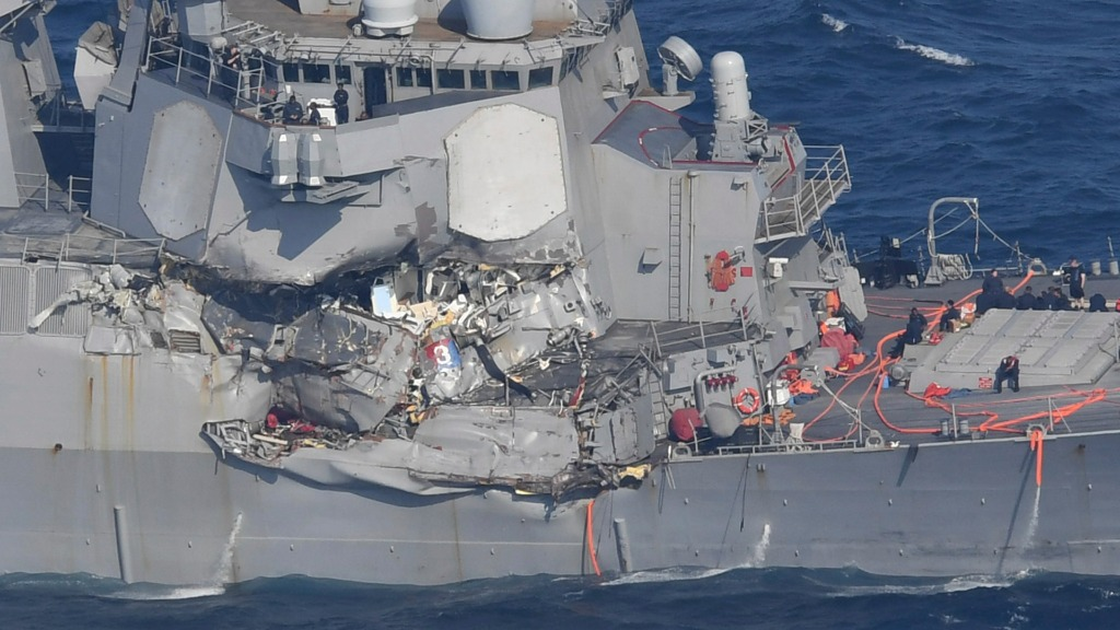 The starboard side of the US Navy destroyer was heavily damaged. (AAP)