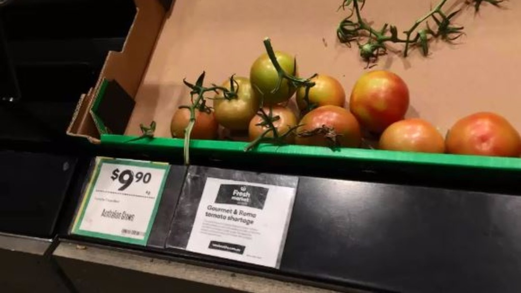 Tomatoes were $9.90 per kilo at Woolworths Supermarkets in Melbourne. (9NEWS)