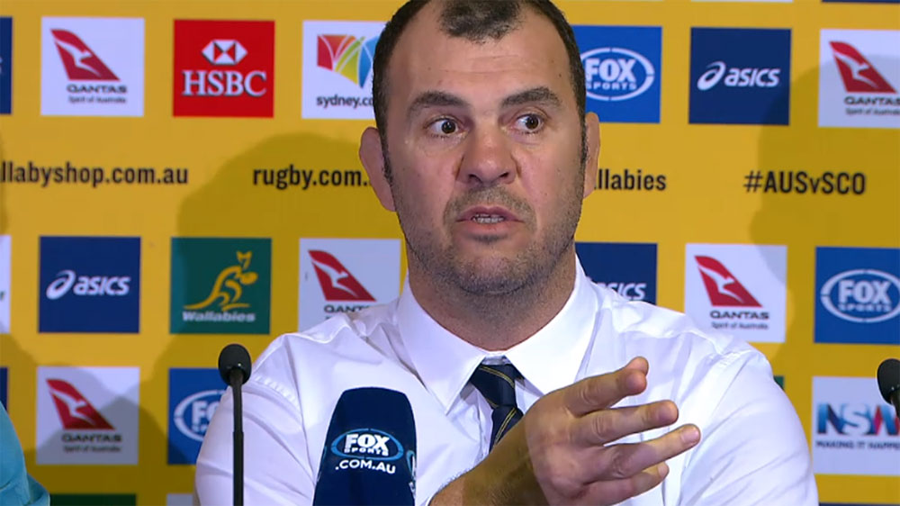 Wallabies coach Michael Cheika snaps at Scottish journalist after losing to Scotland