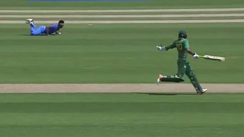 Azhar Ali is run out in comical fashion.