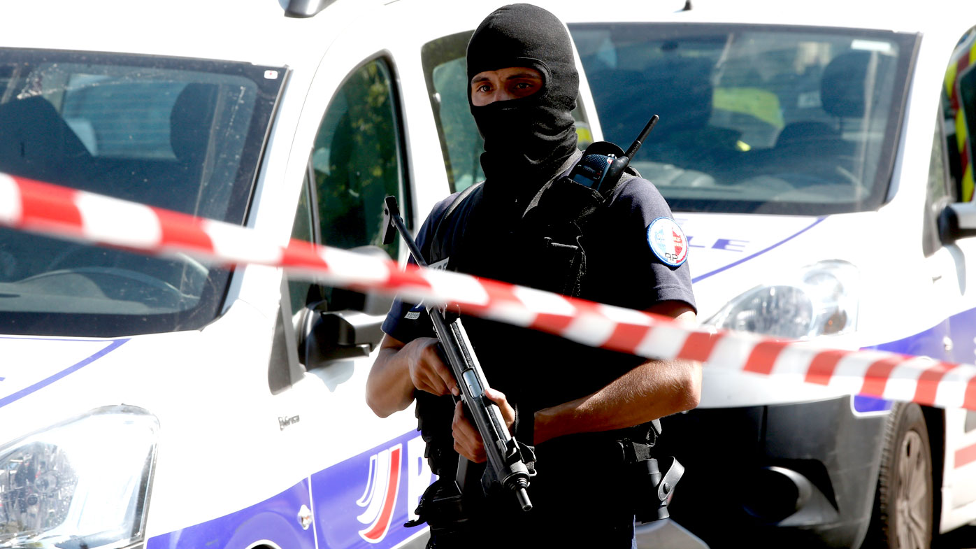 Heavily armed police in central Paris. (AAP)