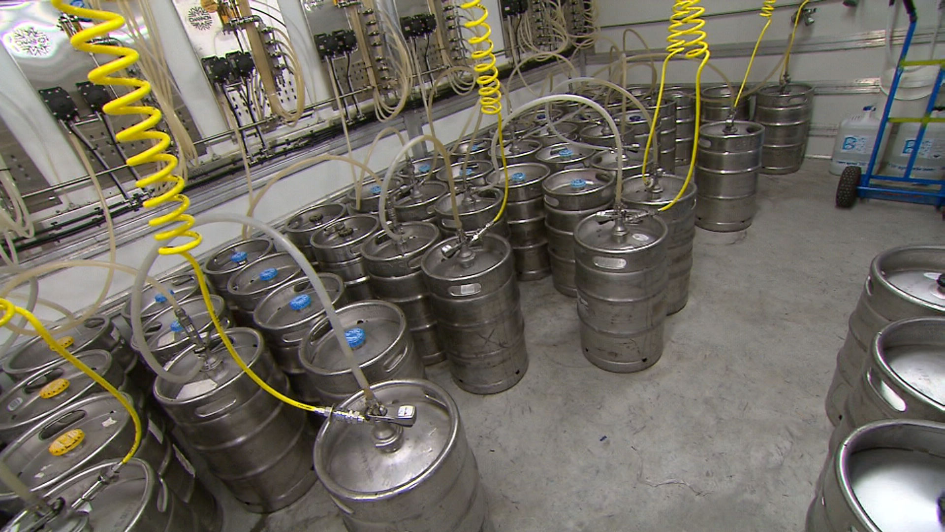 Kegs are being stocked ahead of the game. (9NEWS)