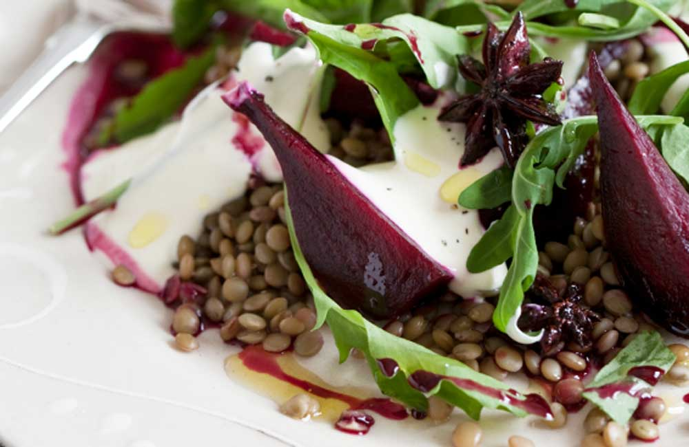 Lentil salad with baby beets and feta_recipe