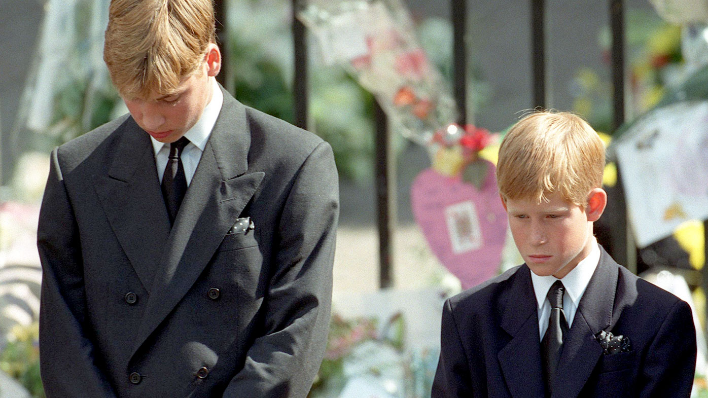 Prince William and Prince Harry attend their mother Princess Diana's funeral in 1997. (AAP)