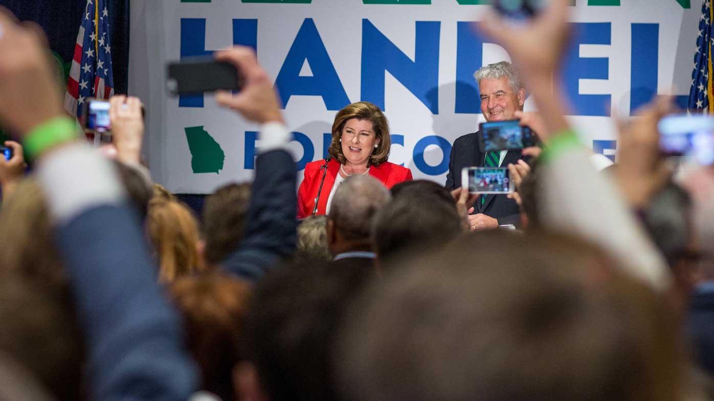 Karen Handel makes her victory speech. (AAP)