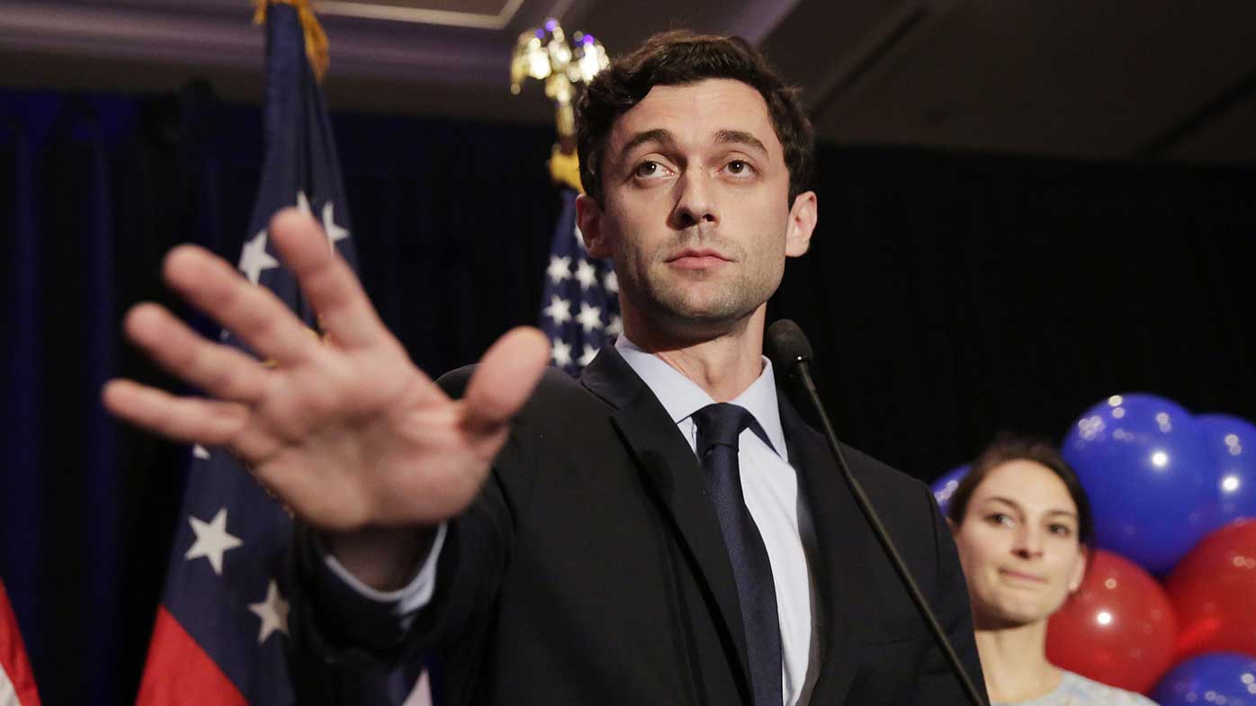A solemn Jon Ossoff gives his concession speech. (AAP)