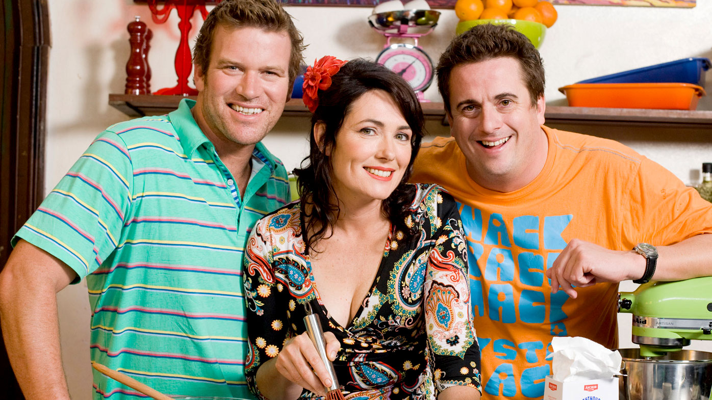 Darren Simpson (far right) with co-stars Ben O'Donoghue and Anna Gare in a promotional photograph for their show Best In Australia. (AAP)