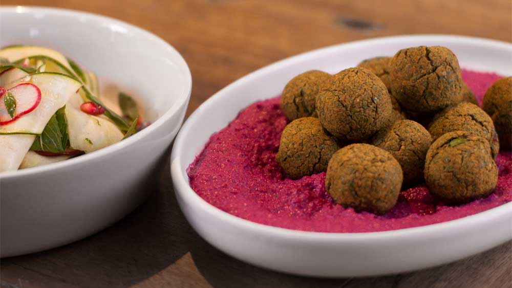 Callum Hann's falafel with beetroot tahini sauce and shaved zucchini salad