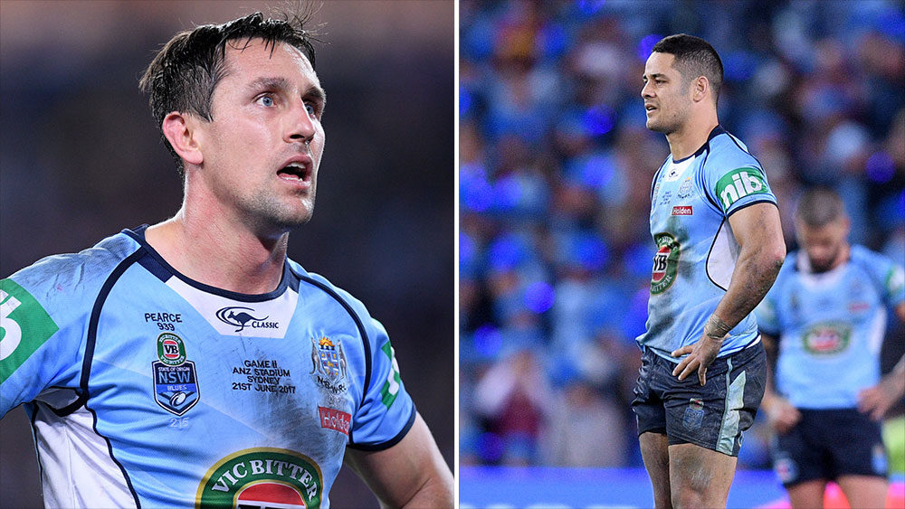 Mitchell Pearce (left) and Jarryd Hayne. (AAP)