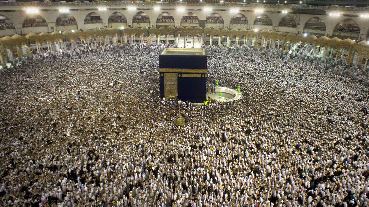 Pilgrims inside the Grand Mosque in Mecca. (AAP)