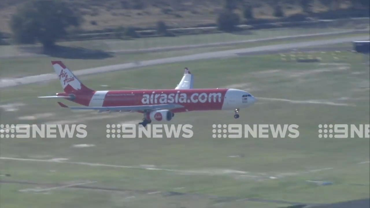 The plane landed safely at Perth Airport just after 10am. (9NEWS)