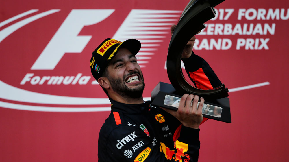 Australia's Daniel Ricciardo wins incident-packed Azerbaijan Grand Prix