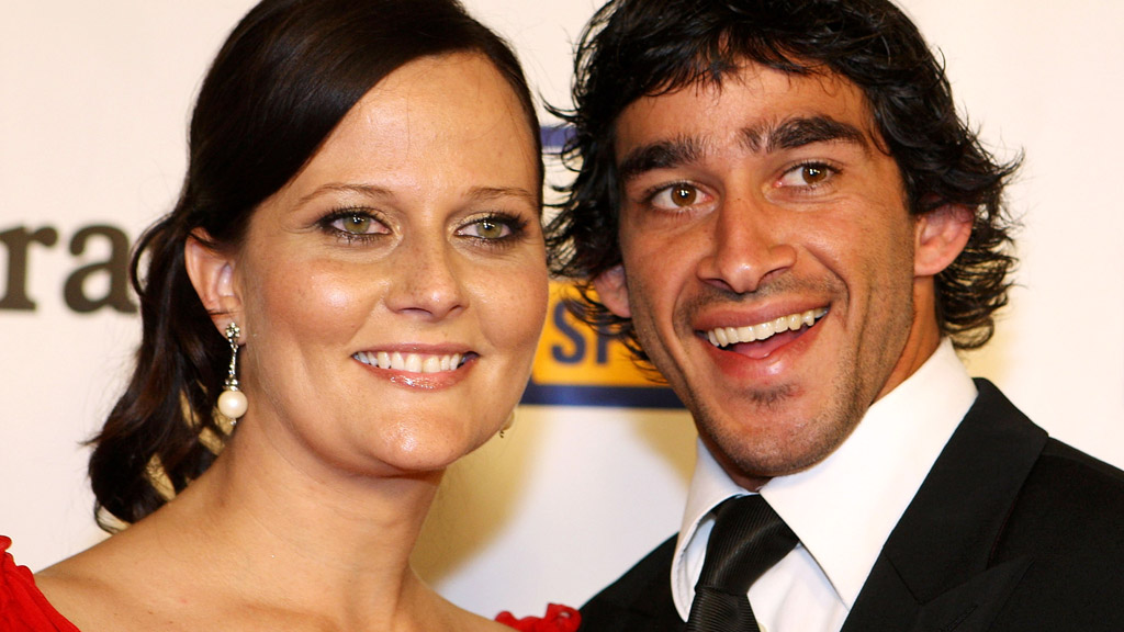 Johnathan Thurston and wife Samantha - putting family first. Image: Getty.