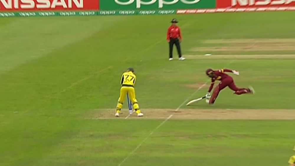 Chedean Nation is caught short of her ground as Alyssa Healy removes the bails.