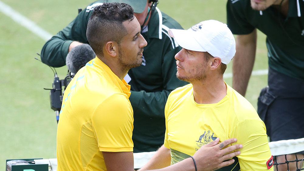 Nick Kyrgios and Lleyton Hewitt. (AAP)