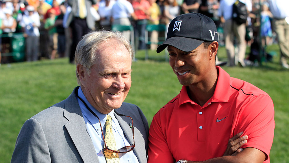 Jack Nicklaus and Tiger Woods. (AAP)