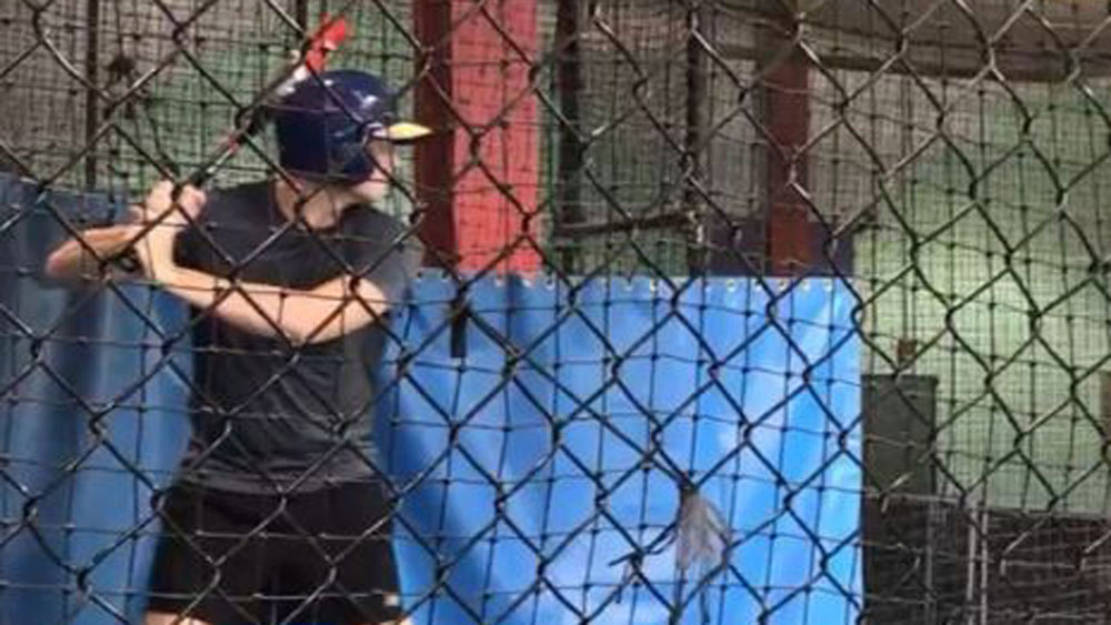 Steve Smith does his best in the batting cages.