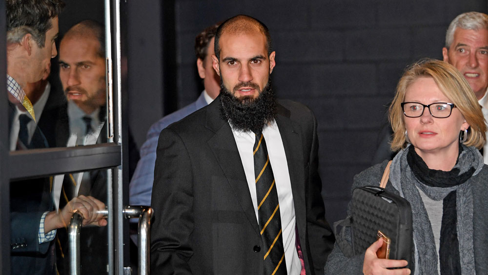 Richmond Tigers star Bachar Houli at the AFL Tribunal on Thursday night. (AAP)