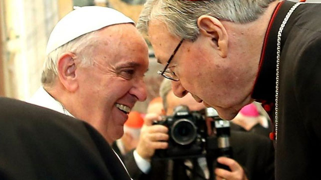 Cardinal Pell sharing a word with Pope Francis. (AAP)