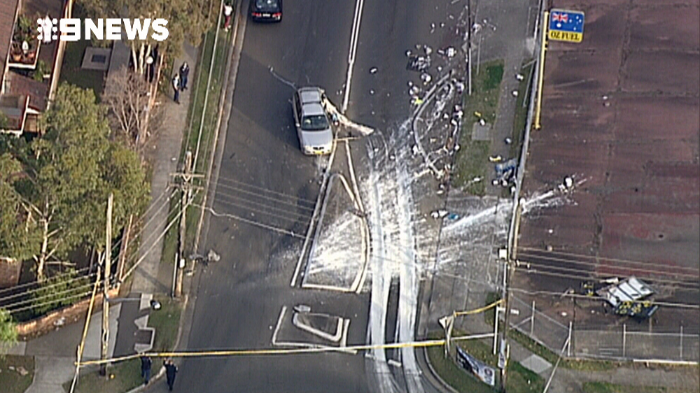 A large amount of paint was found at the crash scene. (9NEWS)