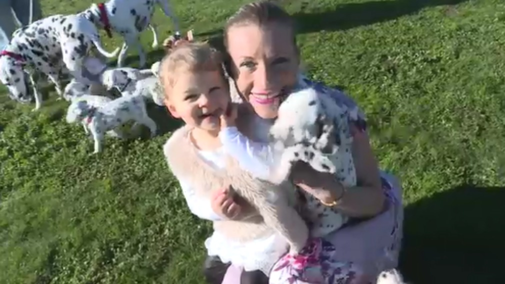 """One of the 18 pups has been named """"Tilly"""" by Ms Martin's daughter, Lulu. (9NEWS)"""
