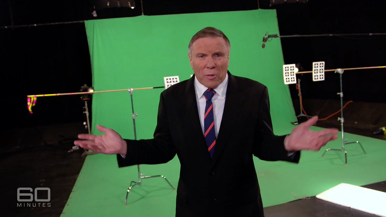 Charles Wooley on set for 60 Minutes.