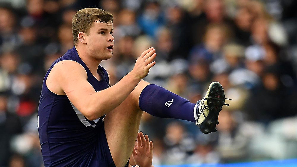 Sean Darcy of the Dockers is seen in action