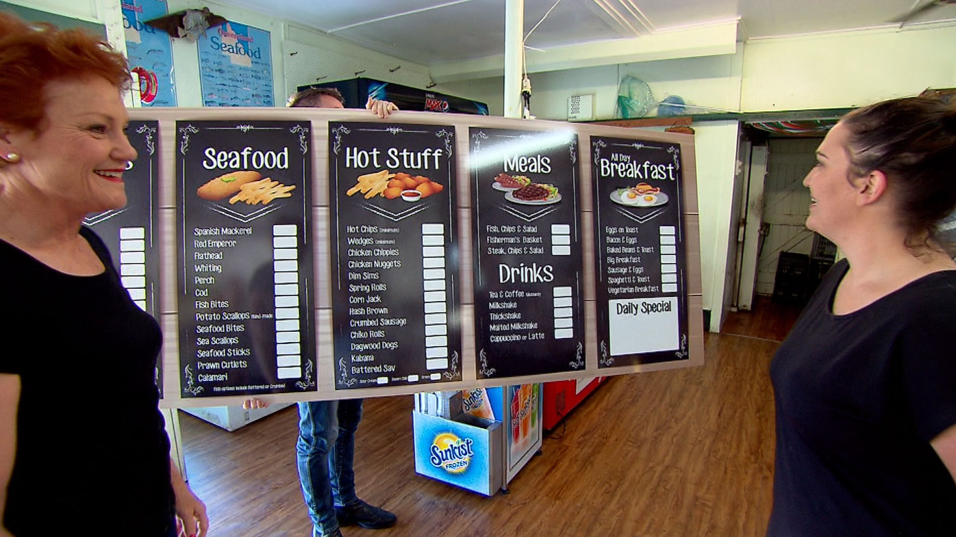 Senator Hanson gifted the shop with a new menu board.