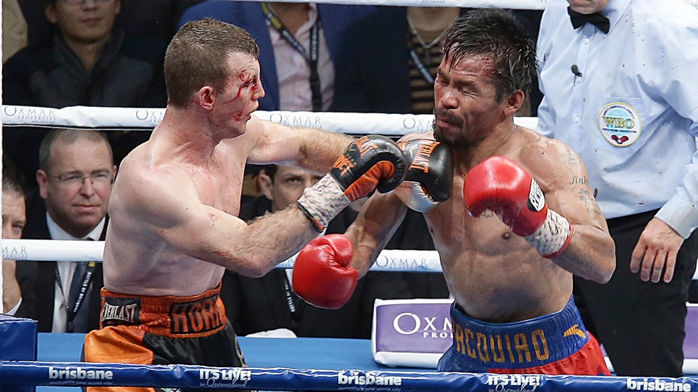 Horn and Pacquiao battled it out in Brisbane on Sunday. (AAP)
