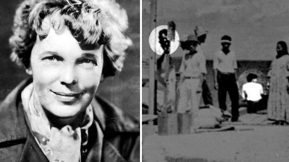 Amelia Earhart (L) and a portion of the new photo (R).