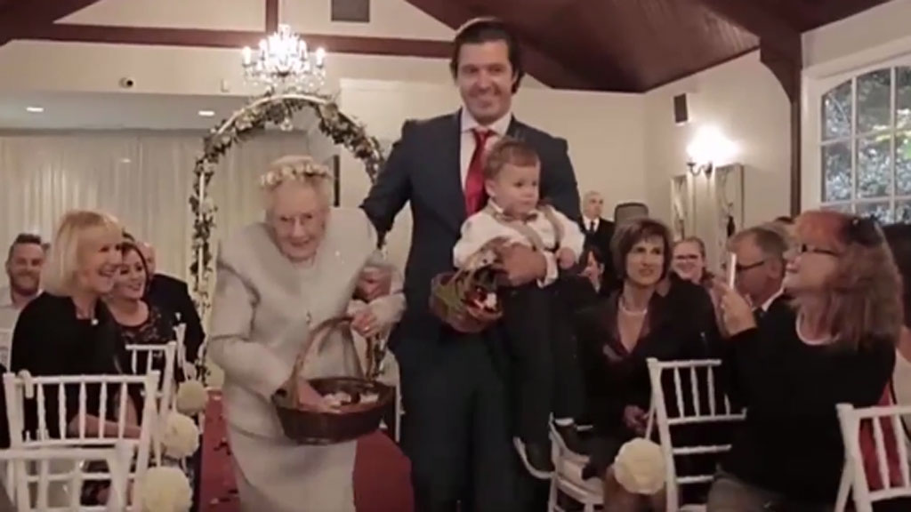 92-year-old flower girl steals spotlight at granddaughter's wedding