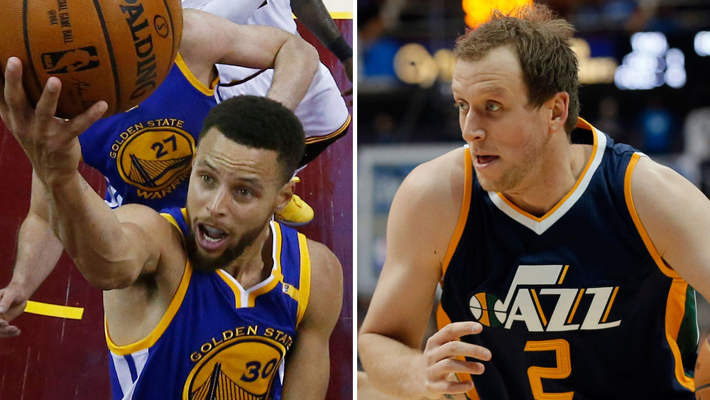 Golden State Warriors star Stephen Curry and Utah Jazz player Joe Ingles. (AAP)